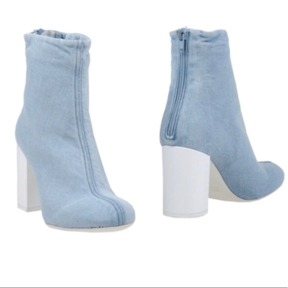 Marios Shoes - Marios Denim Ankle Boot chunky white heel